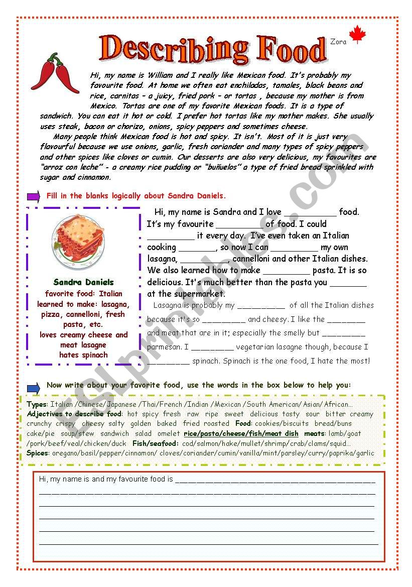 Describing Food worksheet