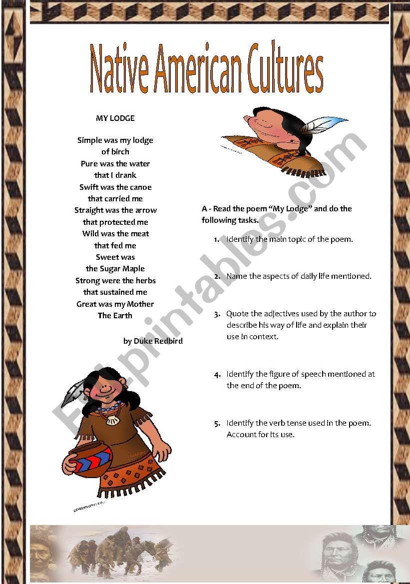 NATIIVE AMERICAN CULTURE worksheet