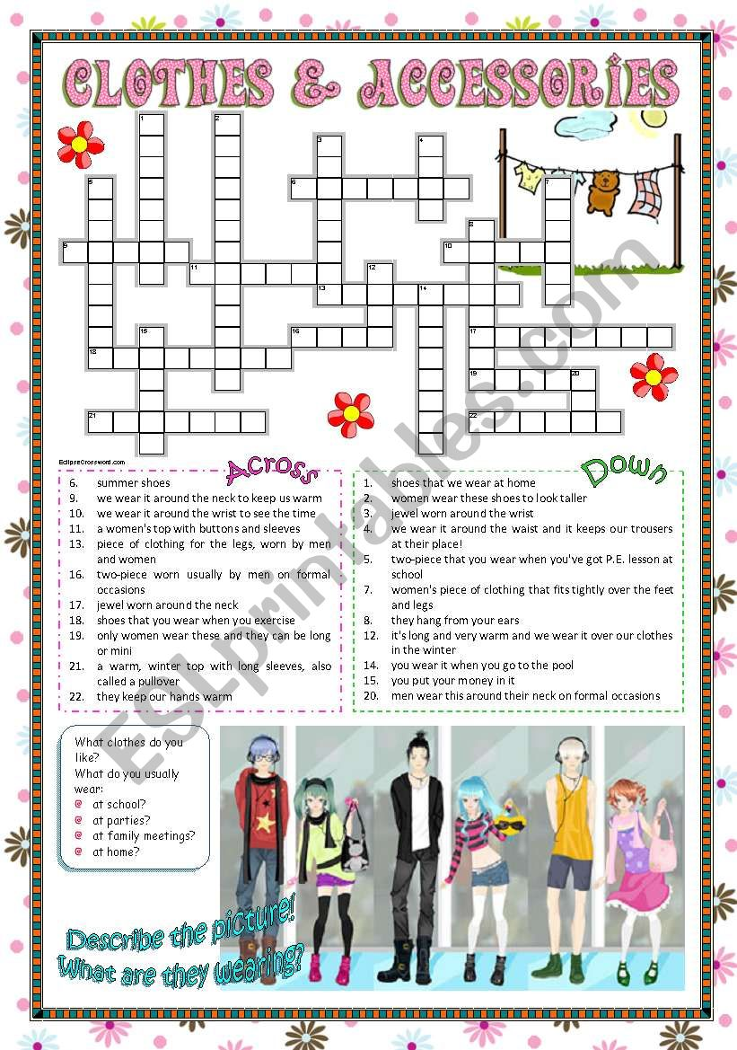 Clothes & Accessories part 3 (crossword)