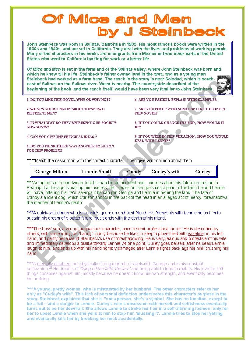 OF MICE AND MEN   ESL worksheet by flacuchis