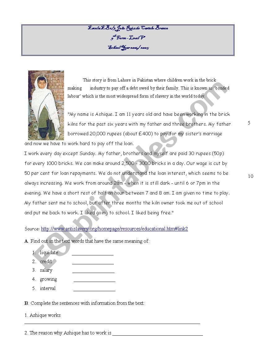 World problems:child labour worksheet