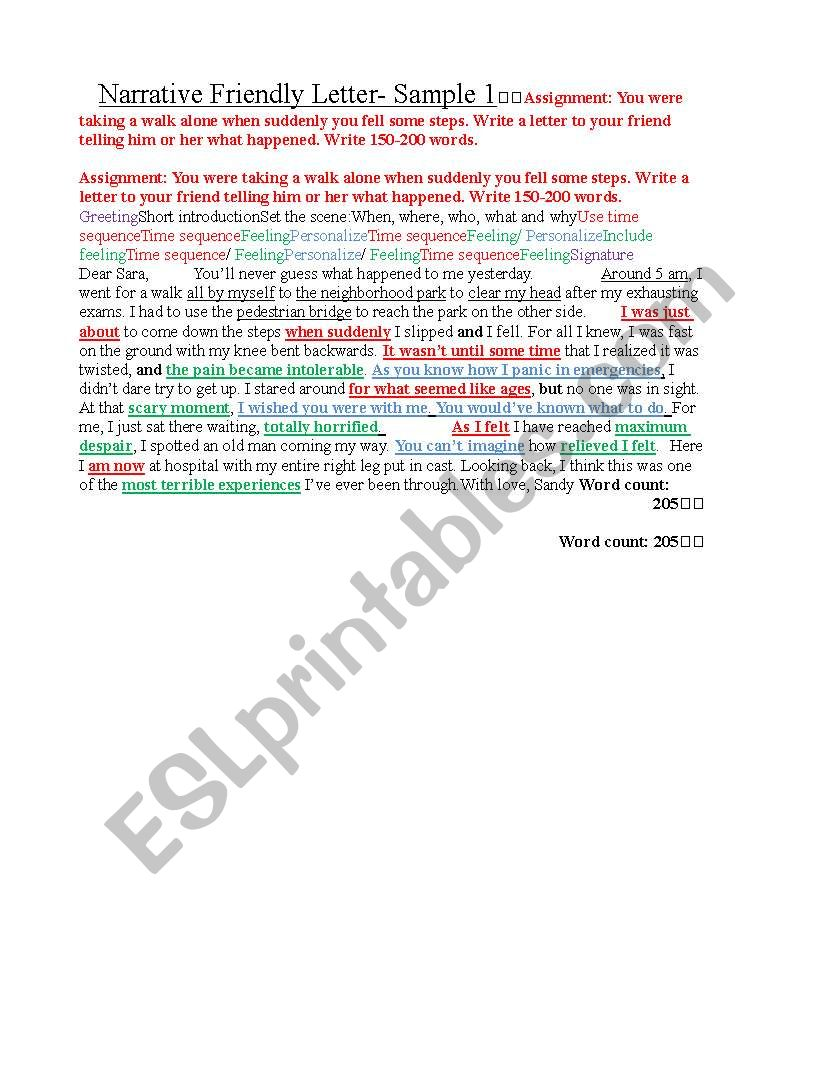 English Worksheets Igcse Esl Narrative Friendly Letter Model