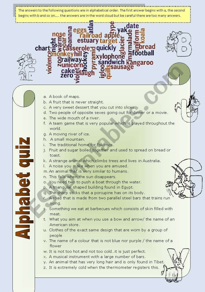 Alphabet quiz and word jumble suitable for elementary-upper intermediate and  for all ages