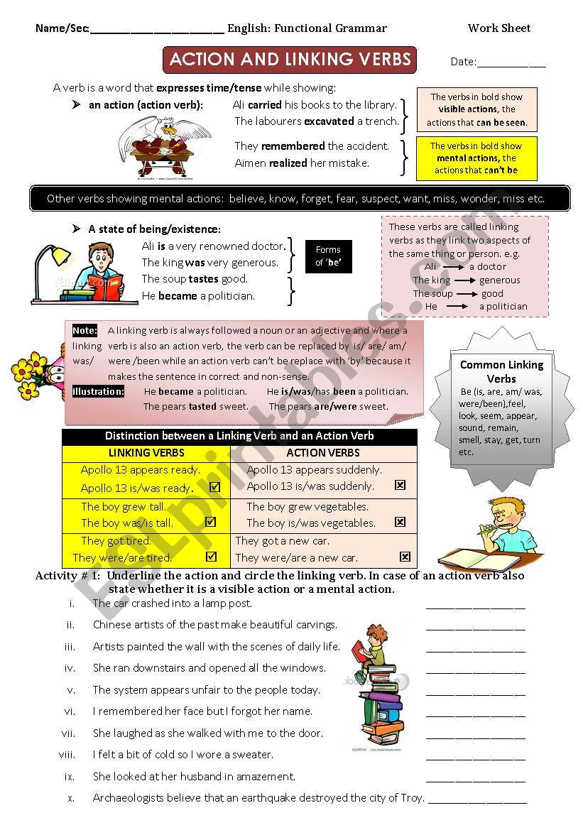 Action And Linking Verbs Esl Worksheet By Jasmine Khan