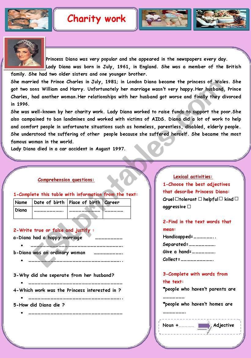 Charity work worksheet