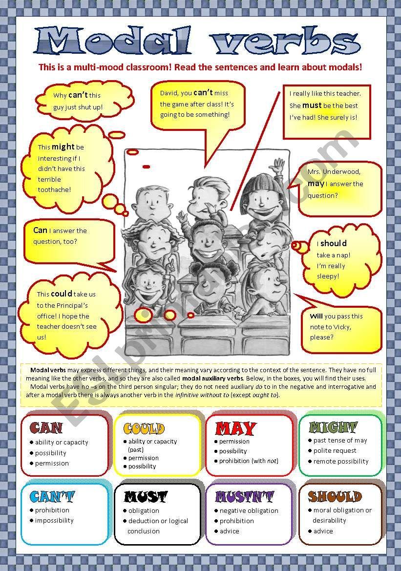 Modal verbs (with key) worksheet