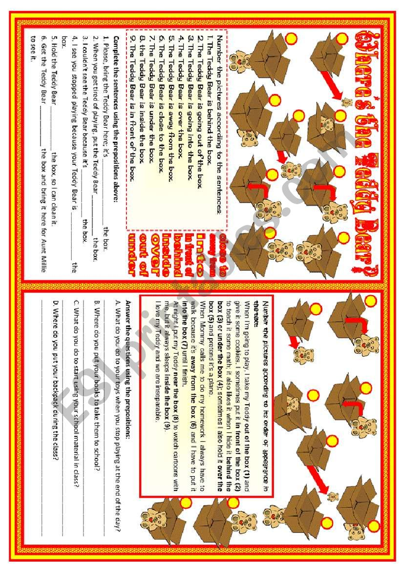 Where's the Teddy Bear? • prepositions practice • 2 pages • B&W included