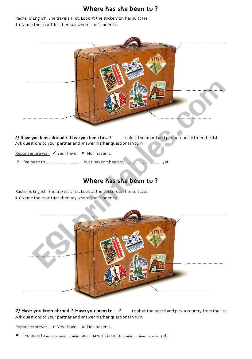 Where have you been ? worksheet