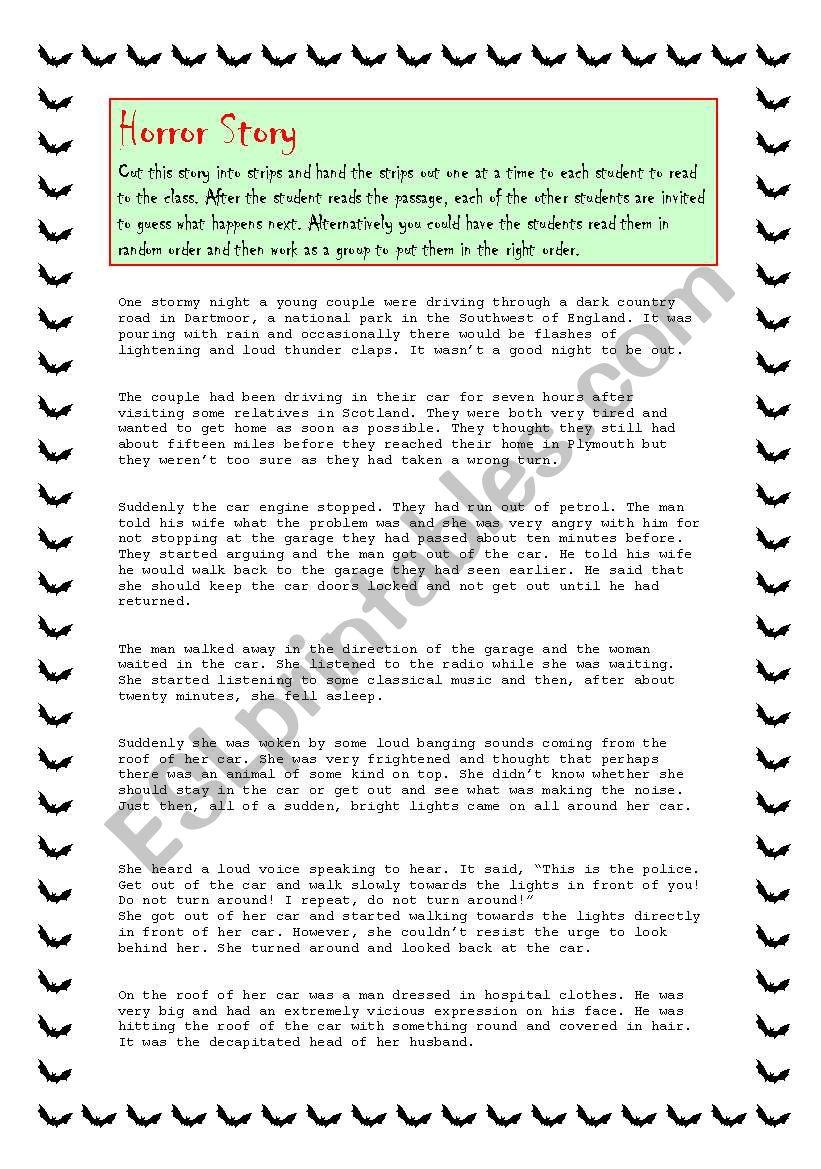 Horror Story - ESL worksheet by spinney