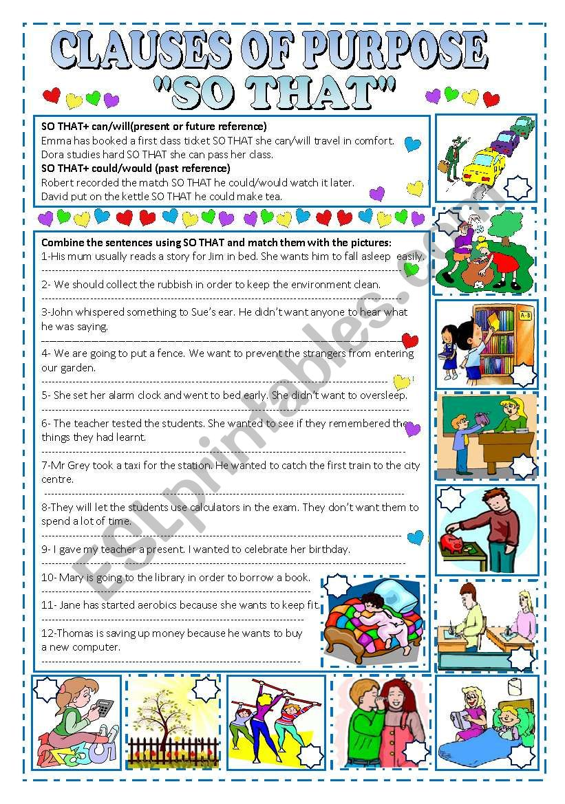 CLAUSES OF PURPOSE ´SO THAT´ worksheet