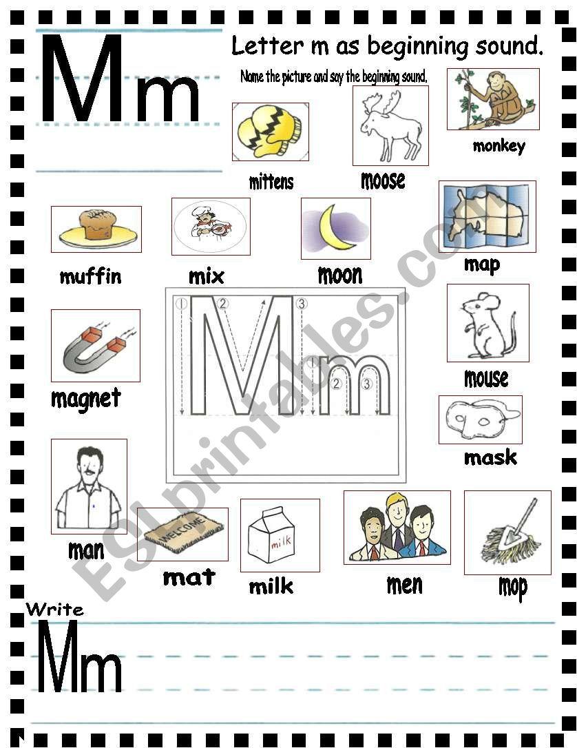 abc letter mm and sentences esl worksheet by annyj. Black Bedroom Furniture Sets. Home Design Ideas