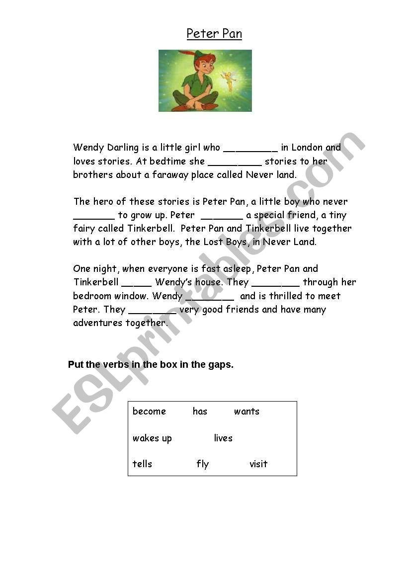 Peter Pan Gapfill worksheet