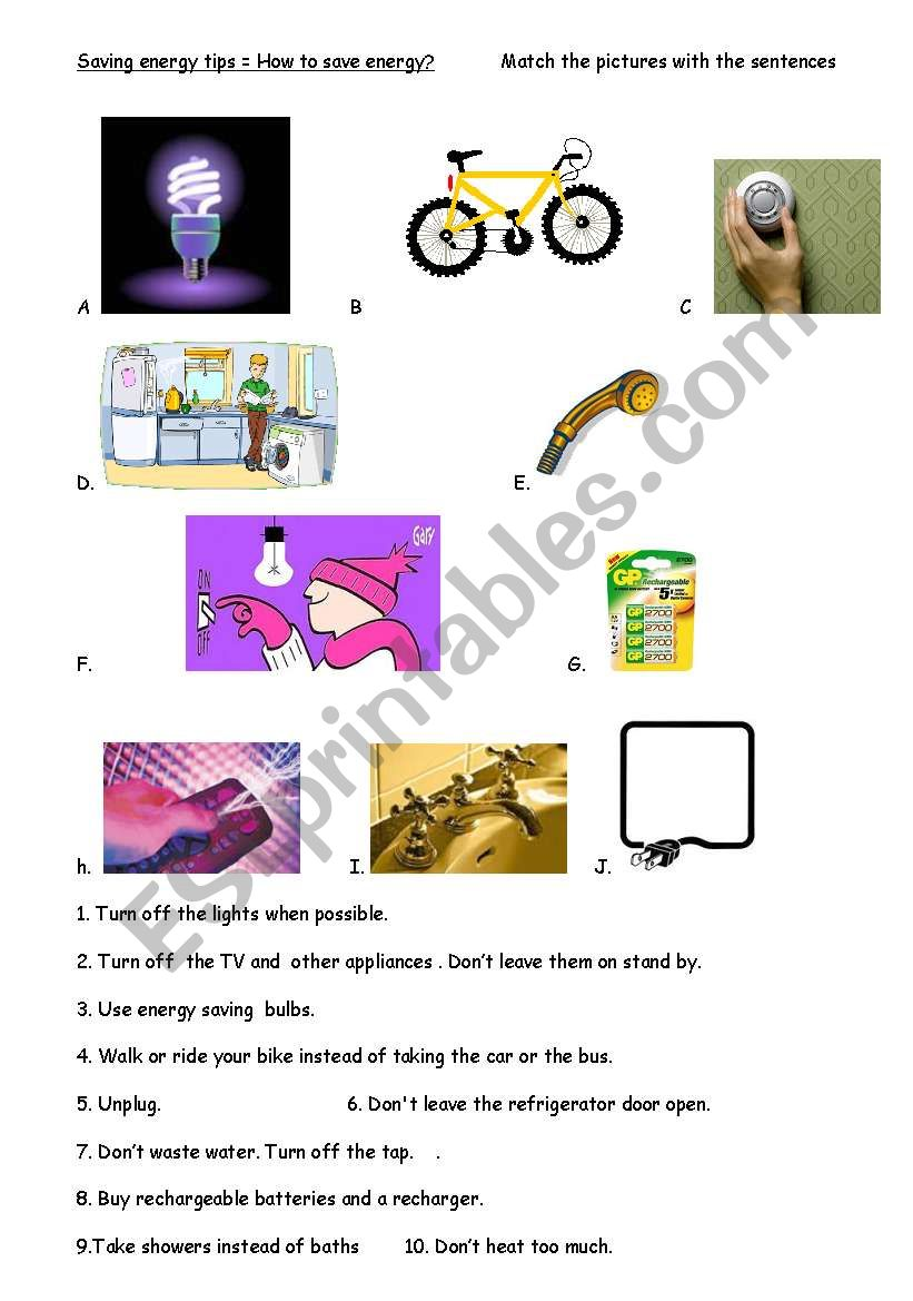 Saving energy - ESL worksheet by patricia35