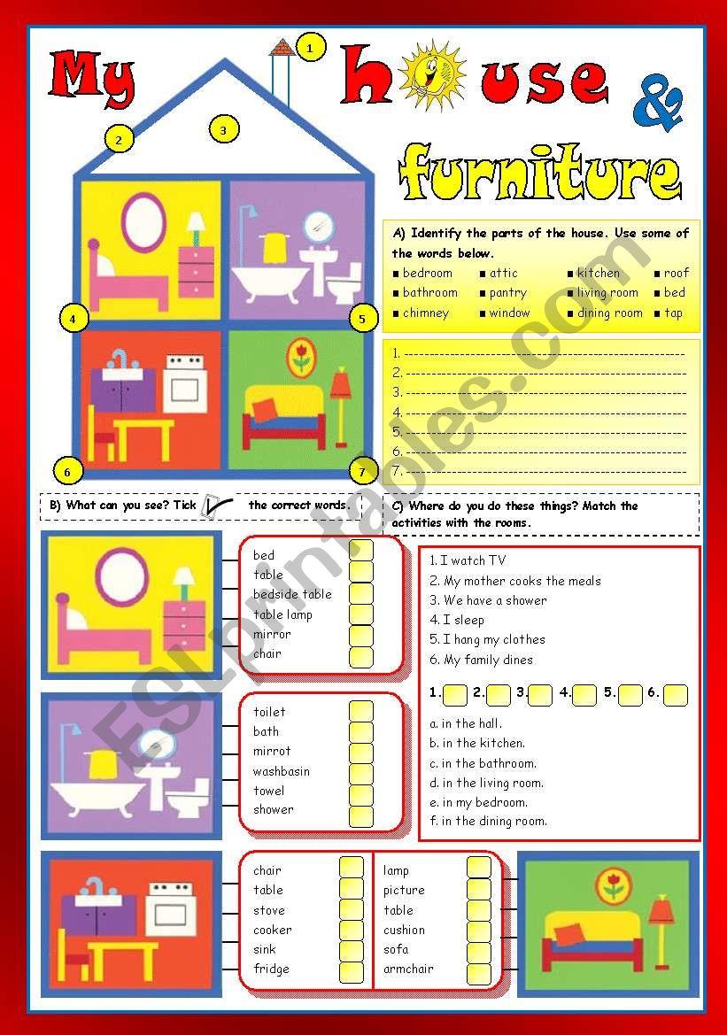 My house & furniture worksheet