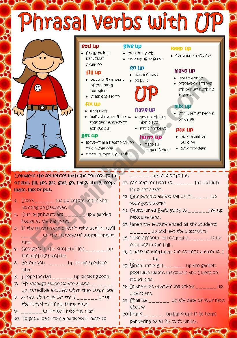 Phrasal verbs with UP (2) *B&W + KEY included*