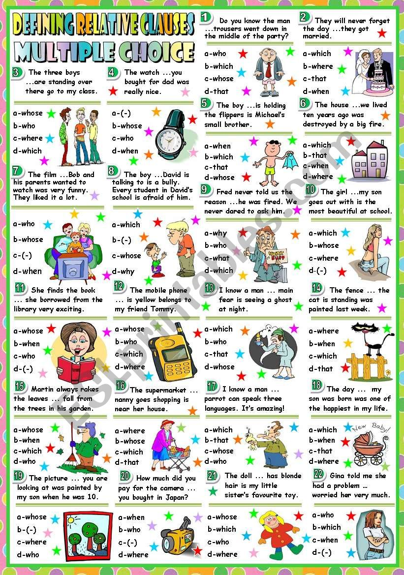DEFINING RELATIVE CLAUSES-MULTIPLE CHOICE (B&W VERSION+KEY INCLUDED)