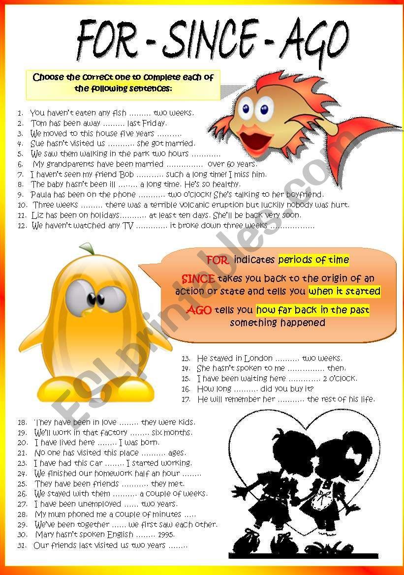 FOR - SINCE - AGO worksheet
