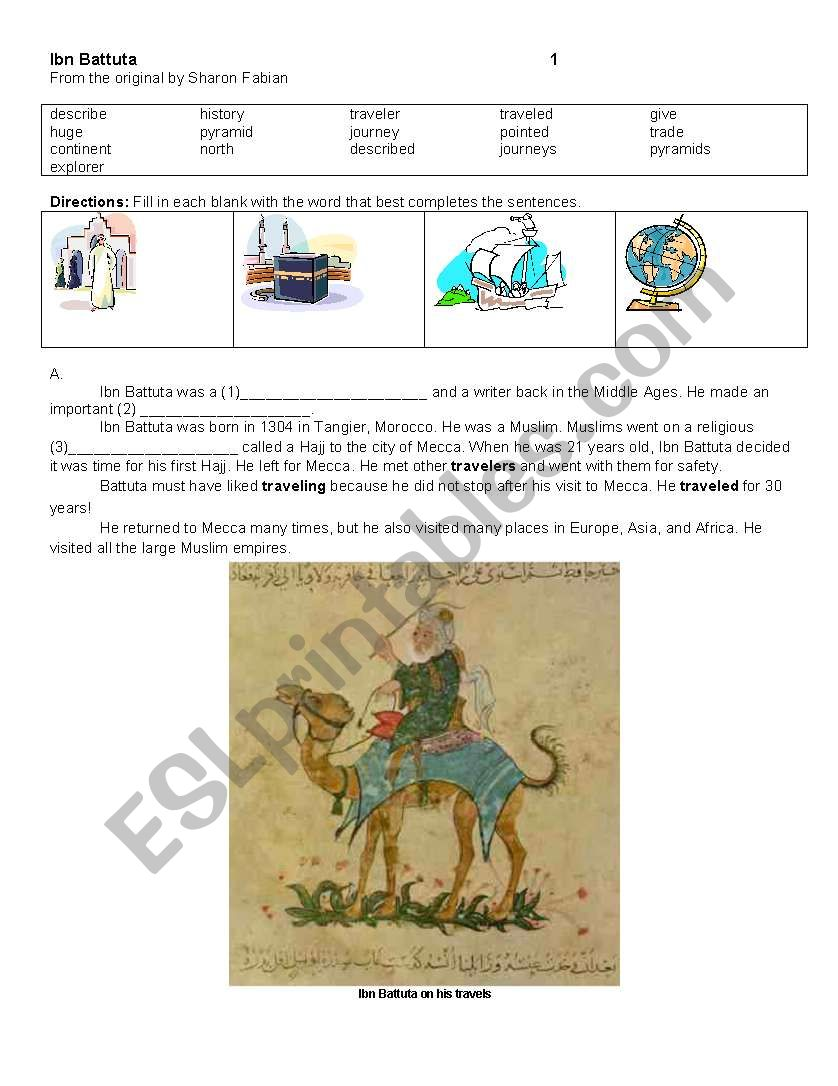 Ibn Battuta Reading Esl Worksheet By Delilahmagillgmail