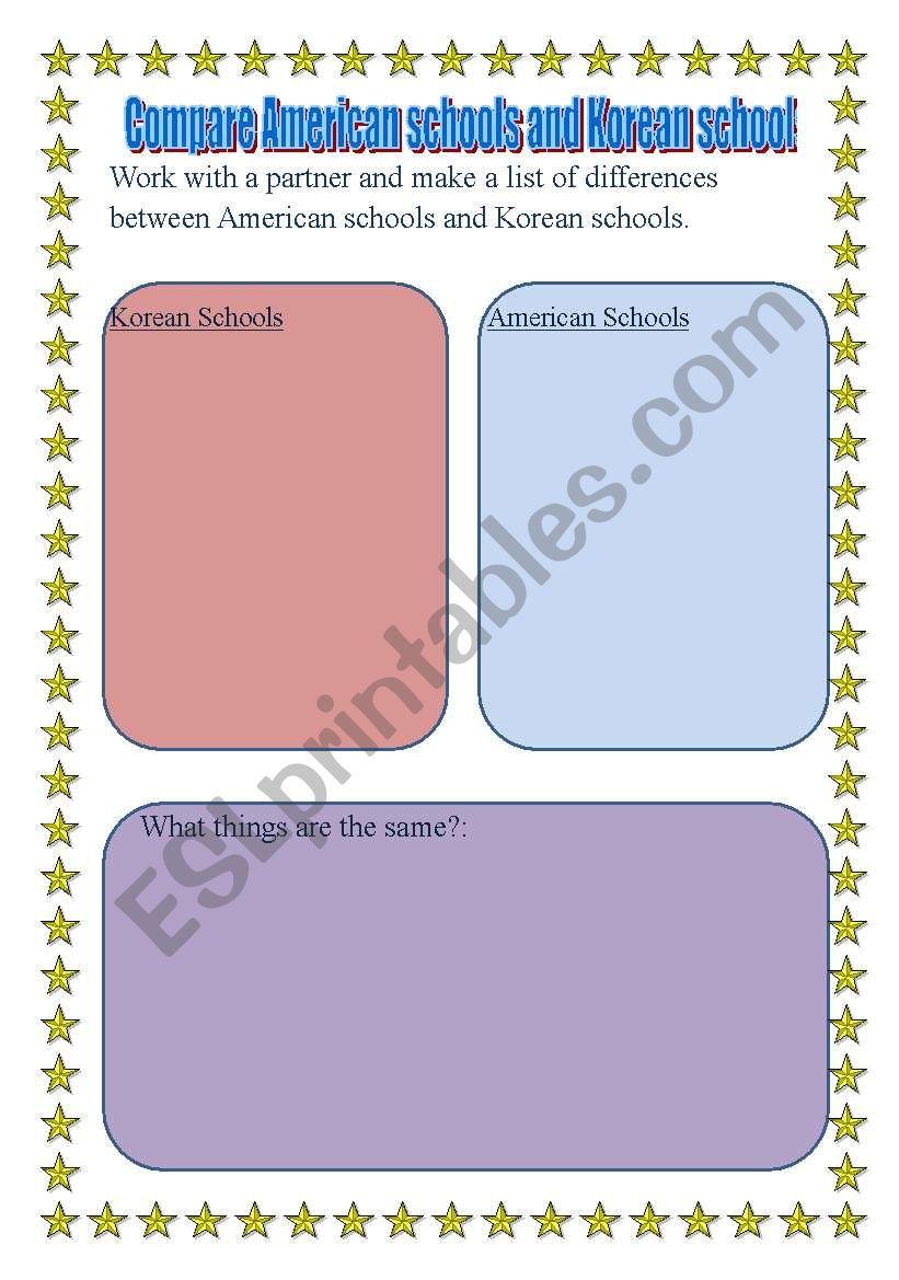 american school culture compare korea