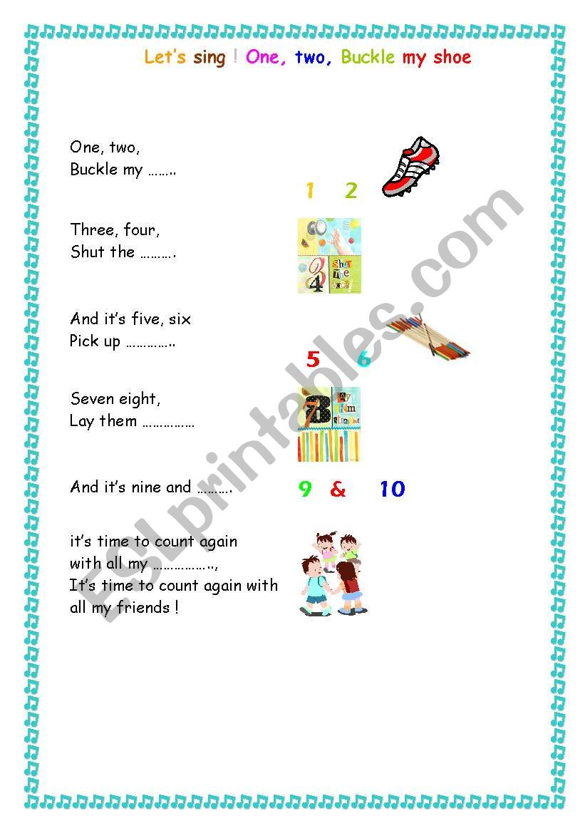 graphic relating to One Two Buckle My Shoe Printable called English worksheets: Track: Just one 2 buckle my shoe