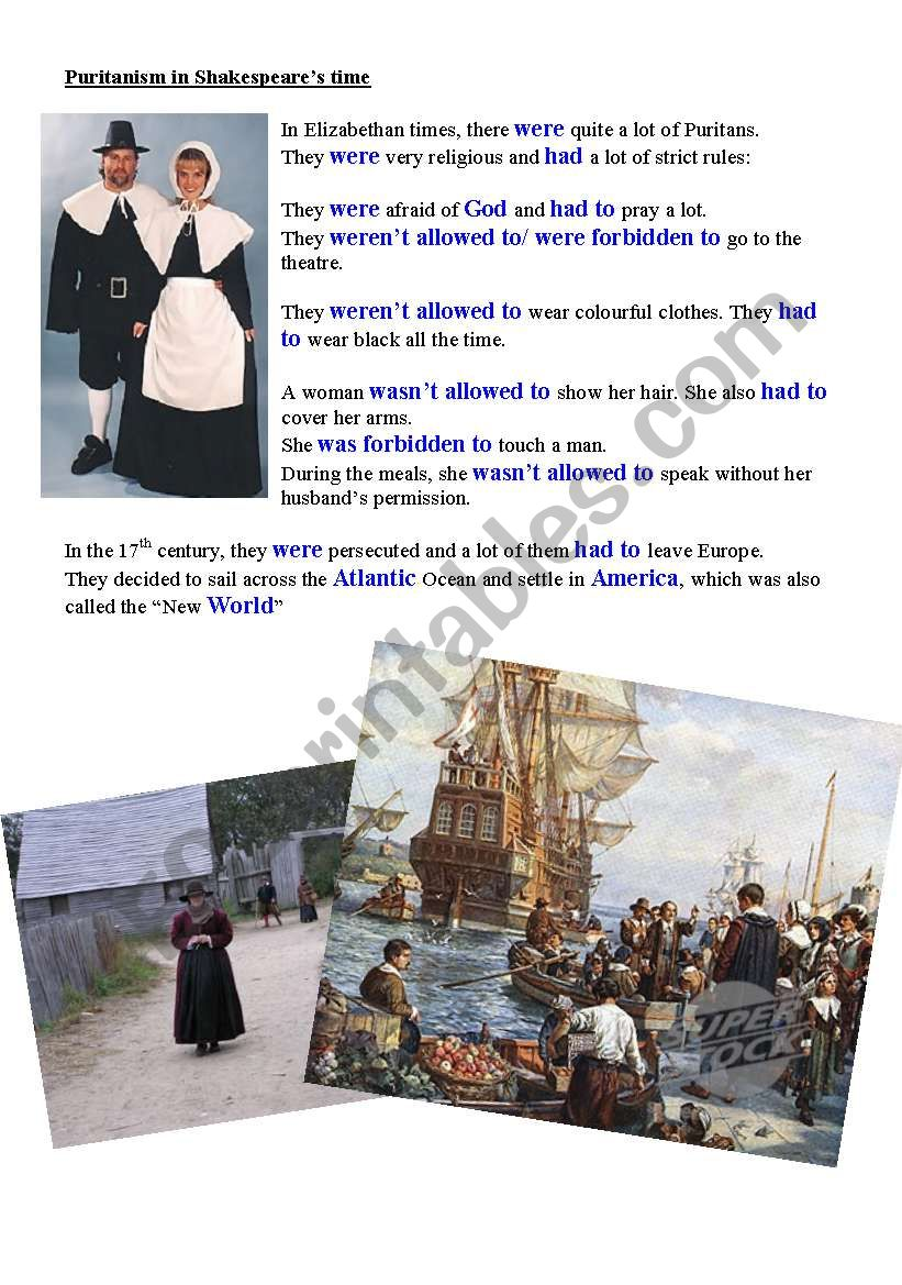 revision of be allowed to / be forbidden to with the puritans