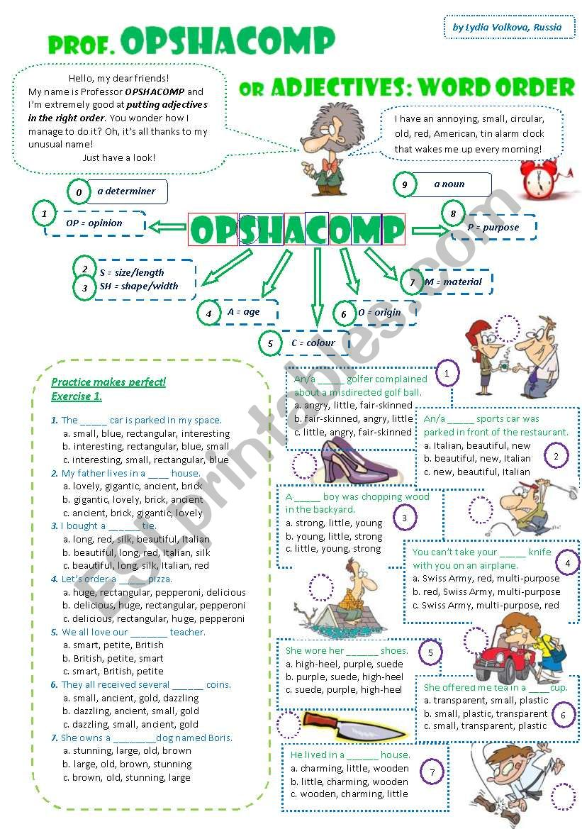 prof. OPSHACOMP or Adjectives: WORD ORDER