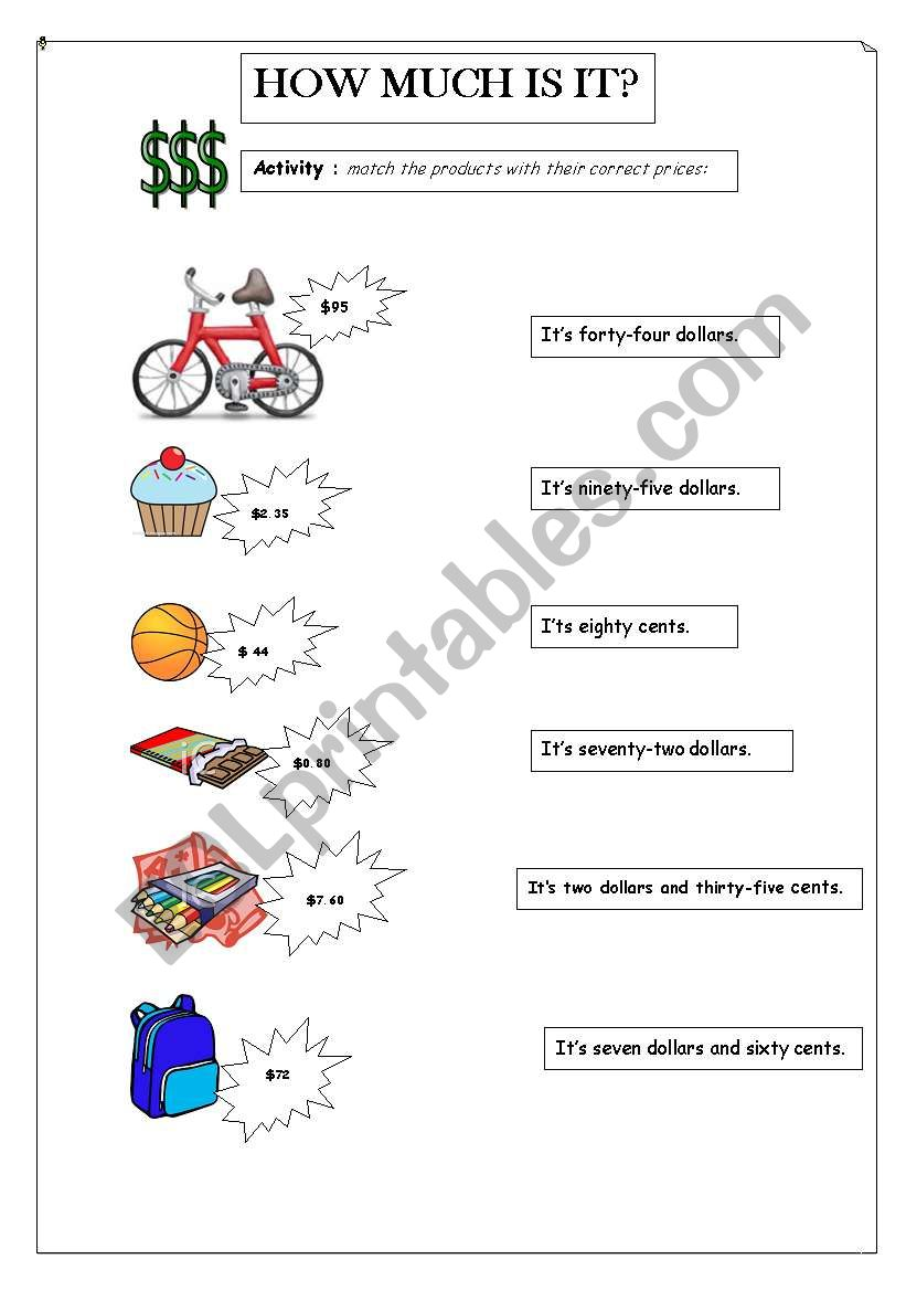 How much is it? - ESL worksheet by Ro Paias