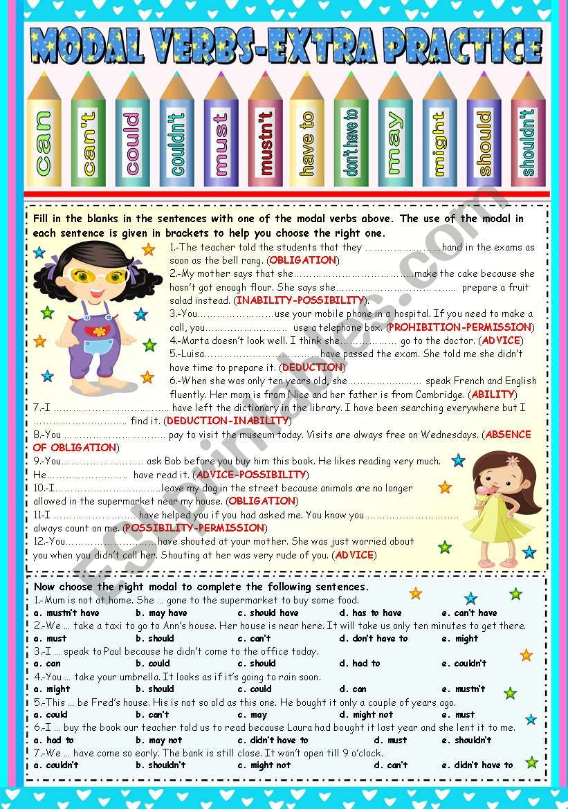 USING THE RIGHT MODAL VERB-EXTRA PRACTICE (KEY INCLUDED)