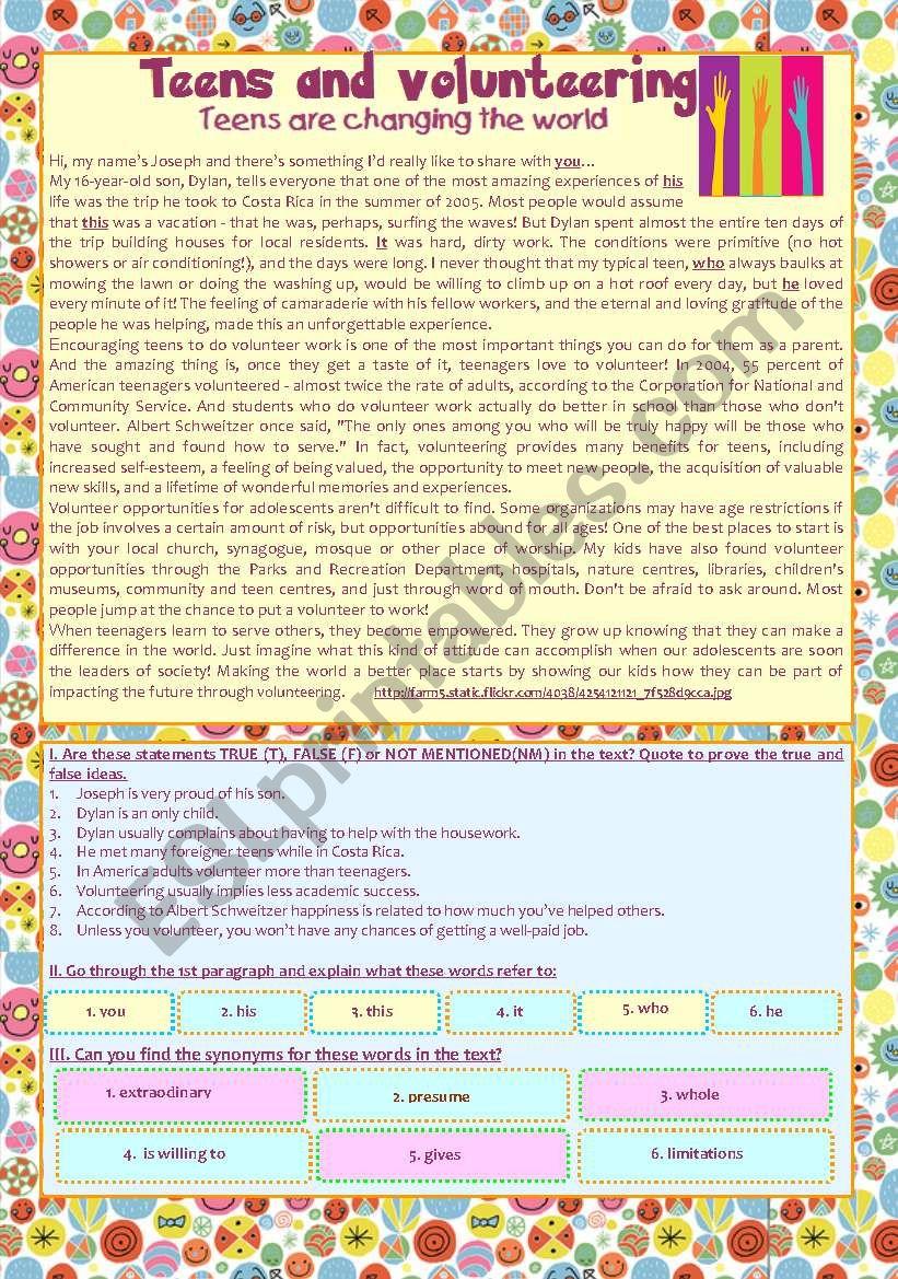 reading comprehension activity ´Teens & Volunteering´ - KEY included