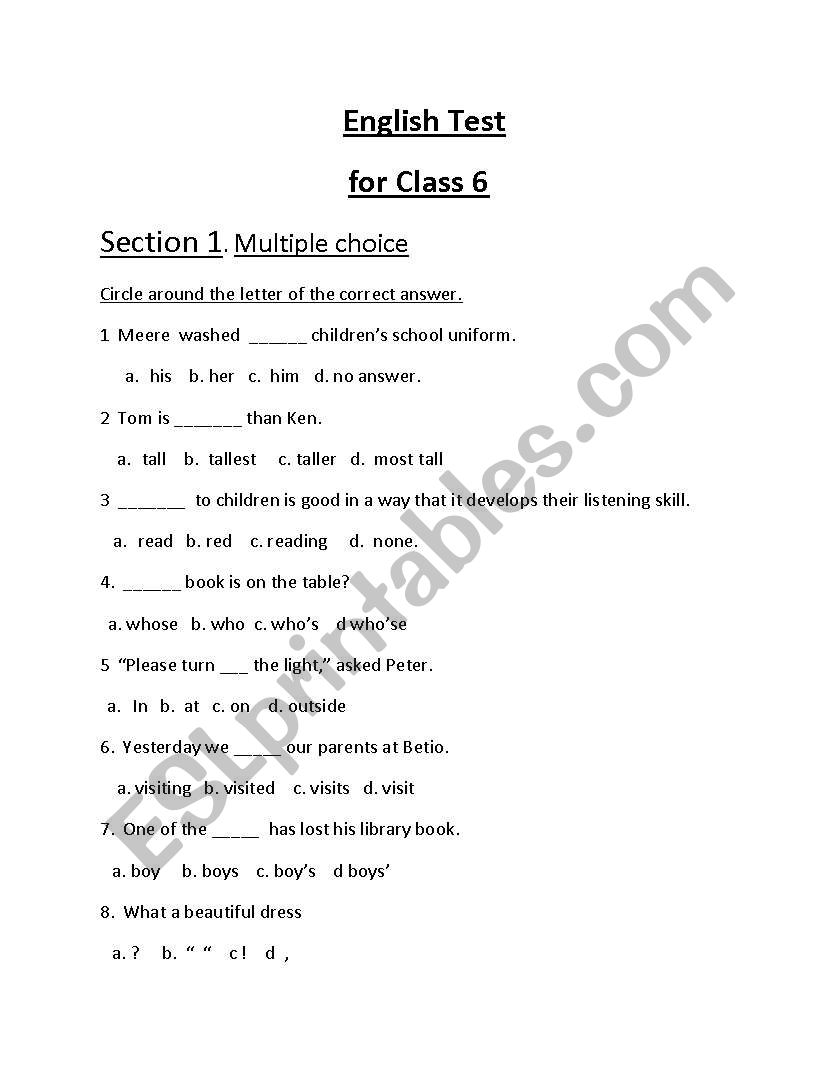 - English Worksheets: English Worksheet For Class 6.