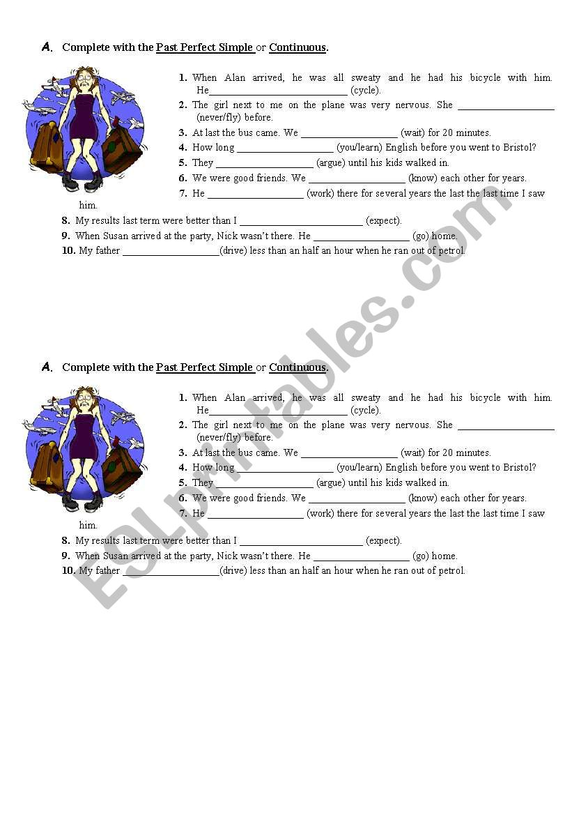 past perfect simple and continuous - ESL worksheet by Telma