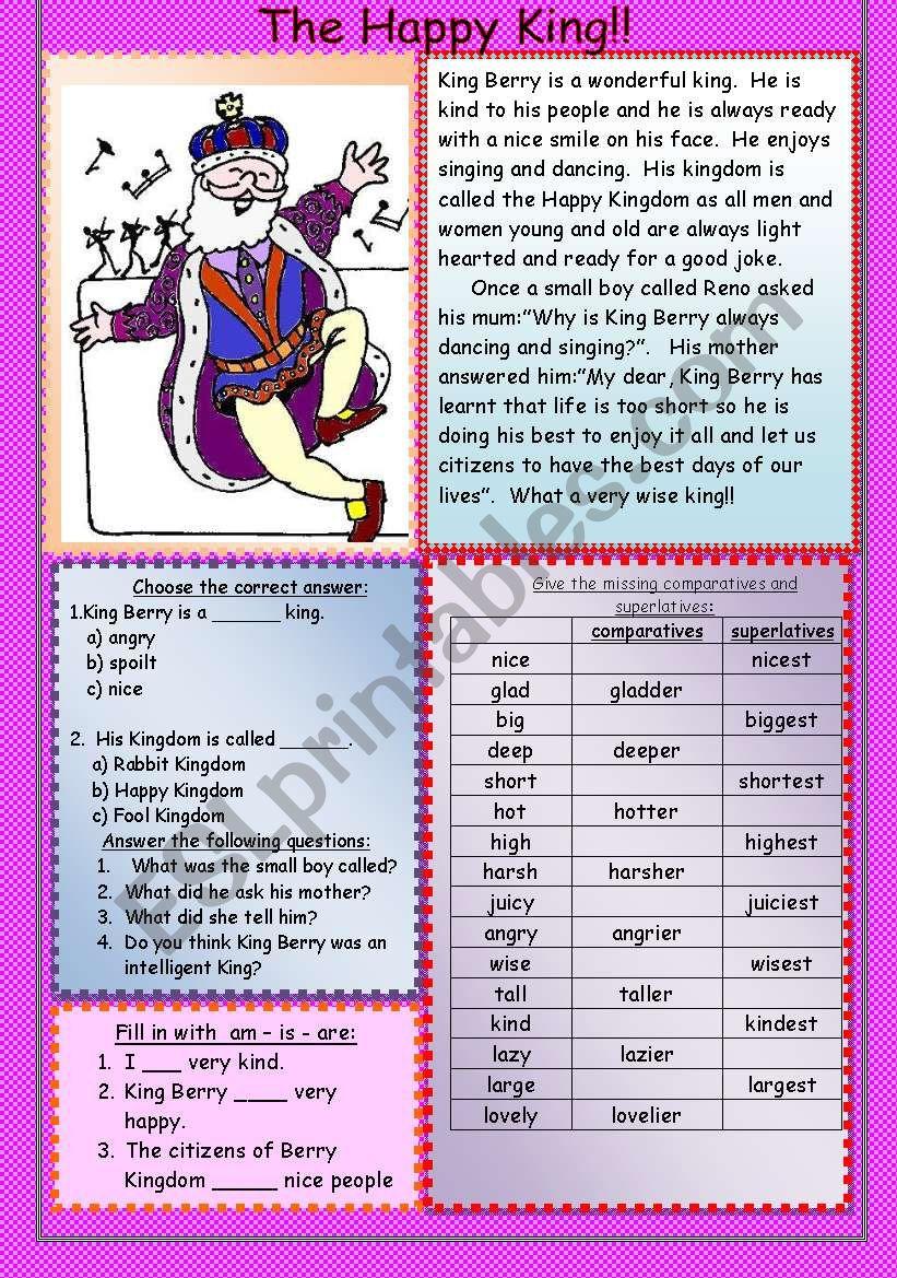 The Happy King! worksheet