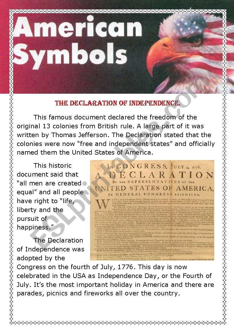American symbols worksheet