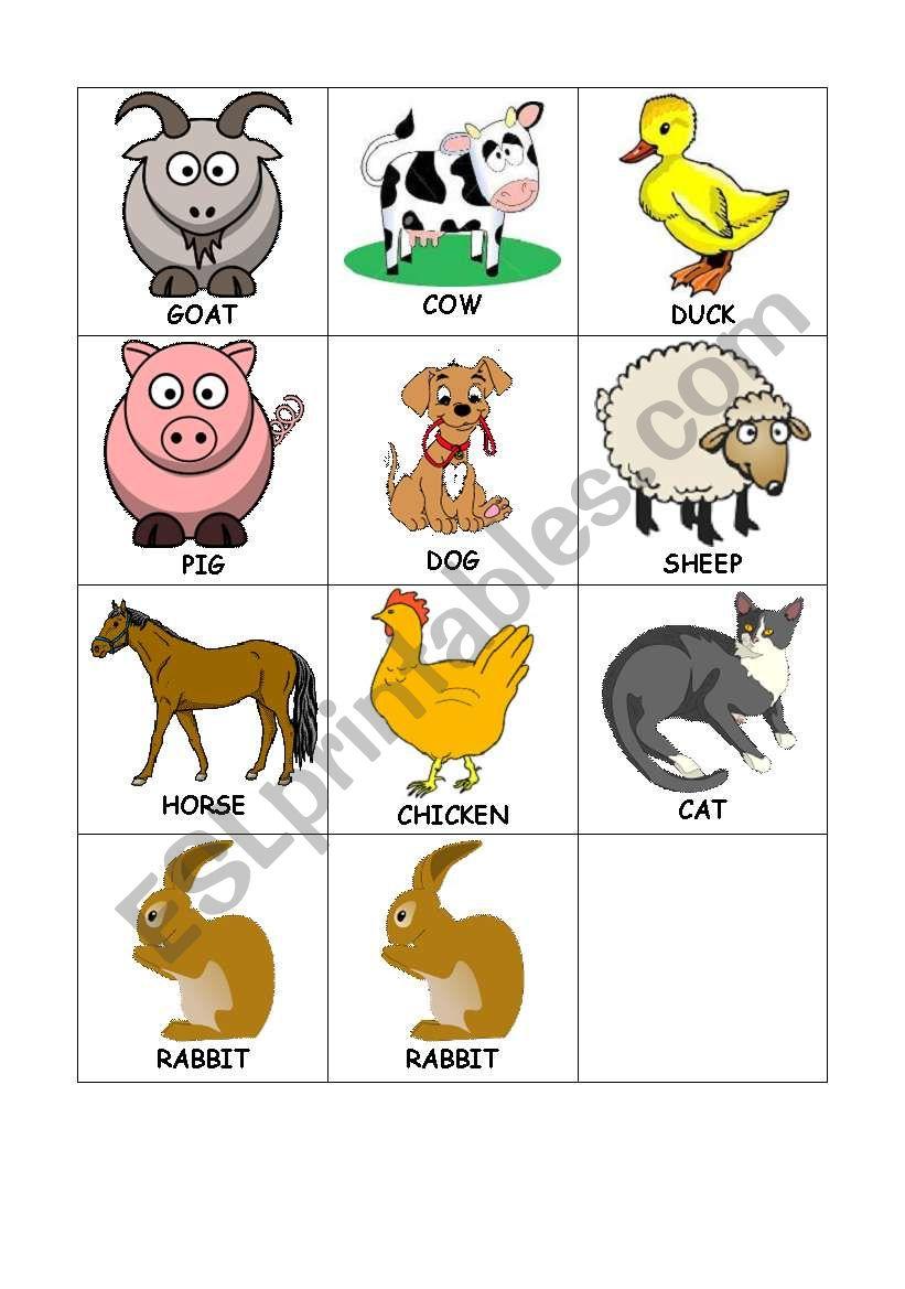 Animals Memory Game worksheet