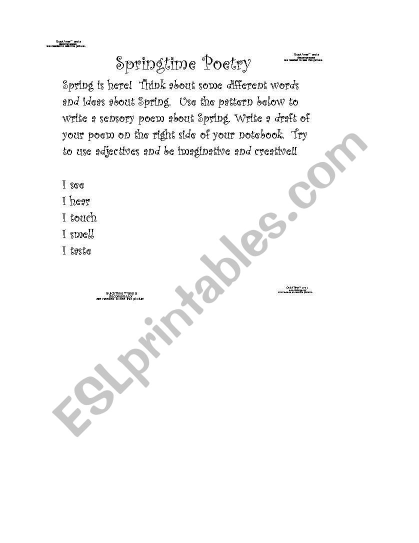 English Worksheets Springtime Sensory Poem Template