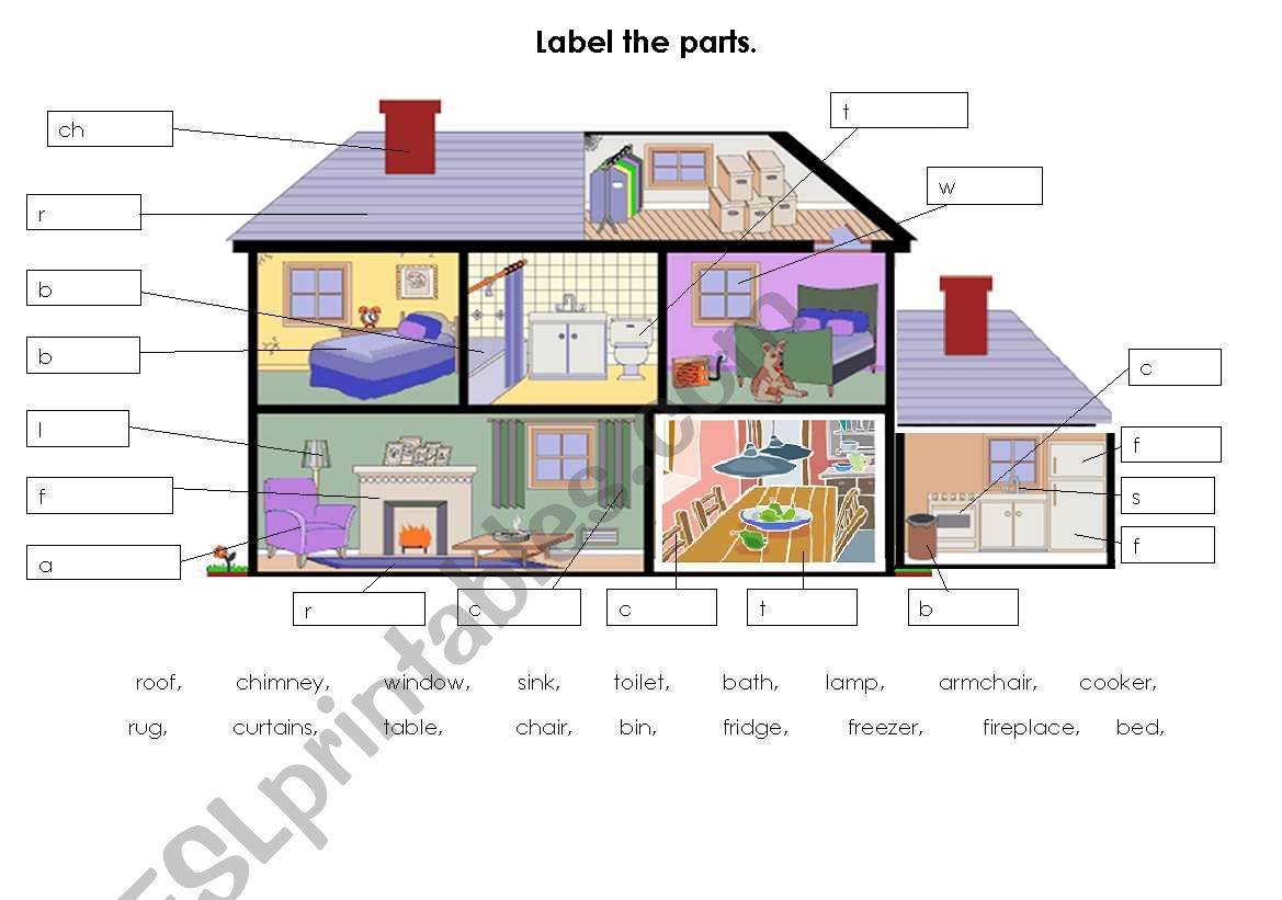 label parts of the house/home - ESL worksheet by tomos