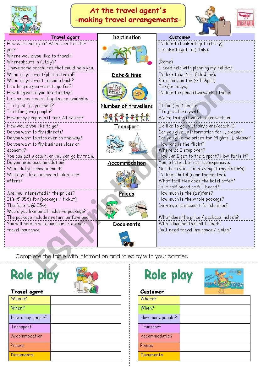 Travel arrangements - role play (B&W)