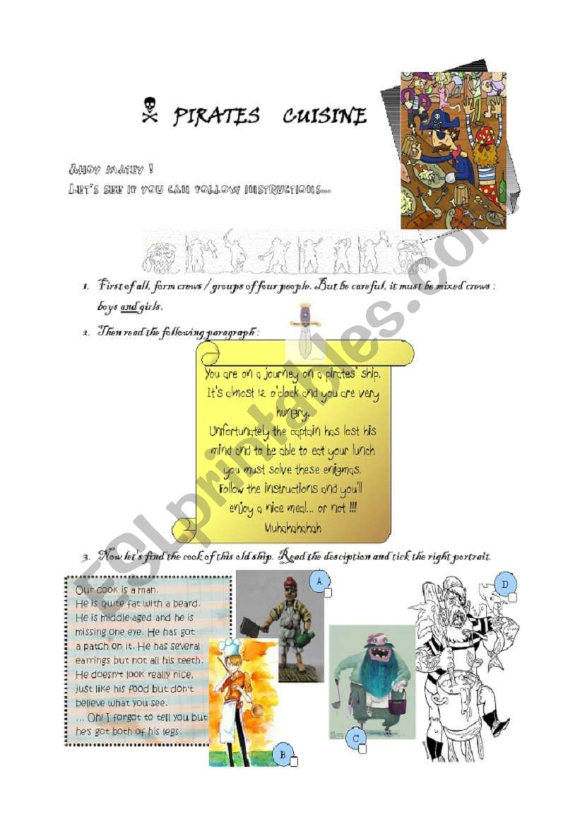 Pirate´s cooking Part 1 worksheet