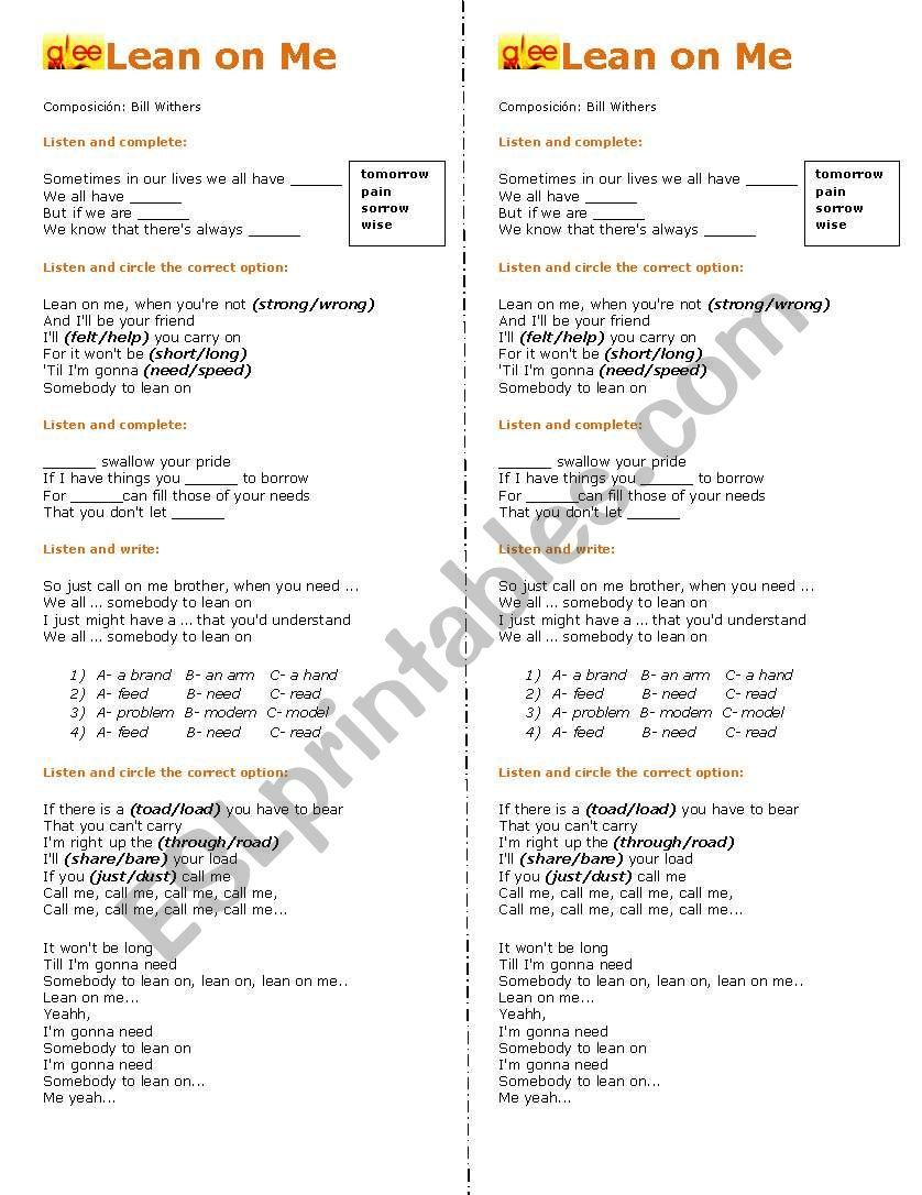 Lean on Me - Glee song worksheet