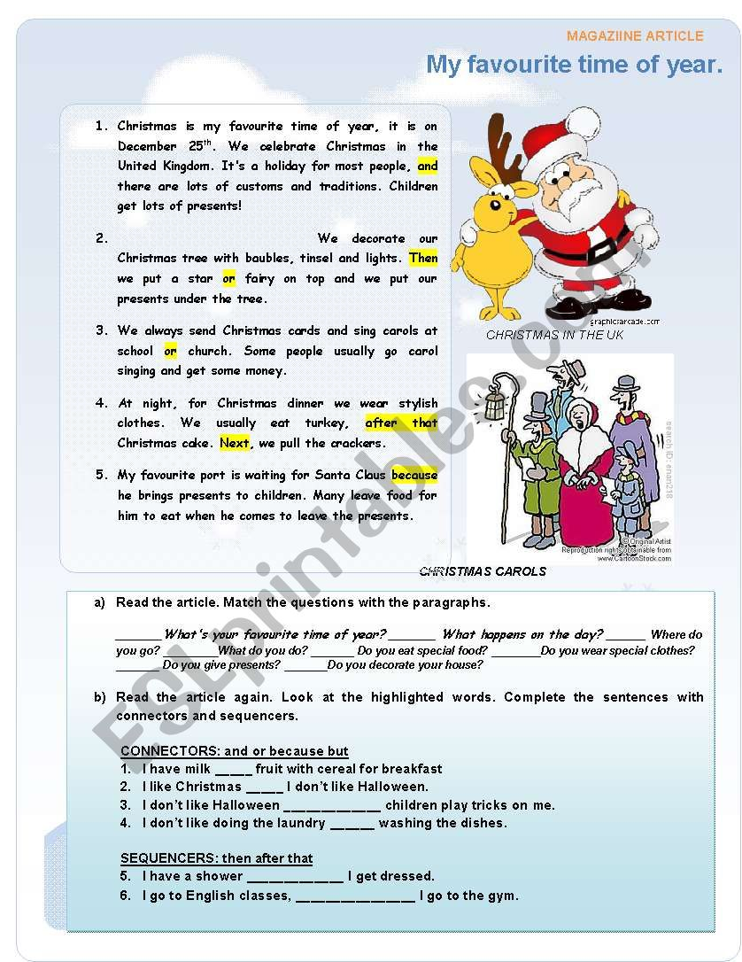 MY FAVOURITE TIME OF YEAR - ESL worksheet by Jacky