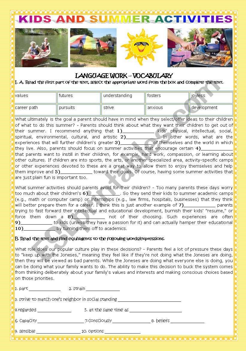 Kids And Summer Activities Esl Worksheet By Teresapr