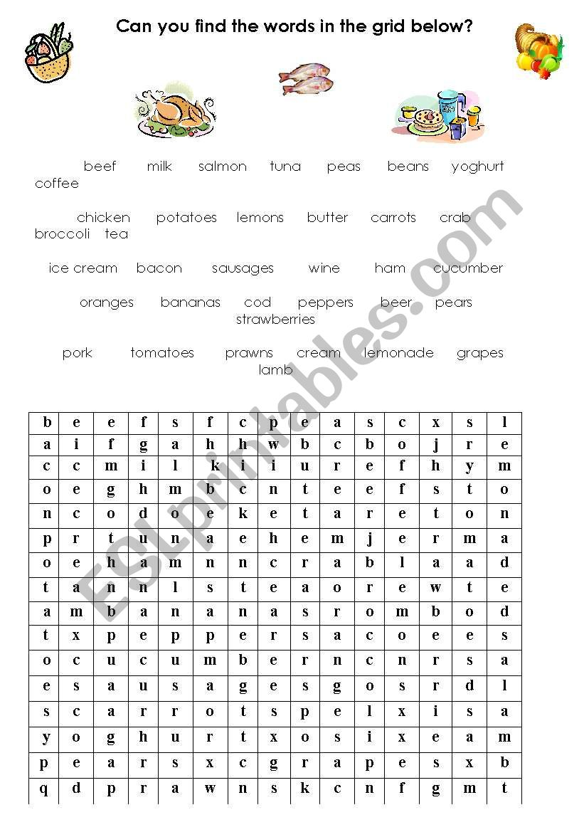 food and drink vocabulary wordsearch