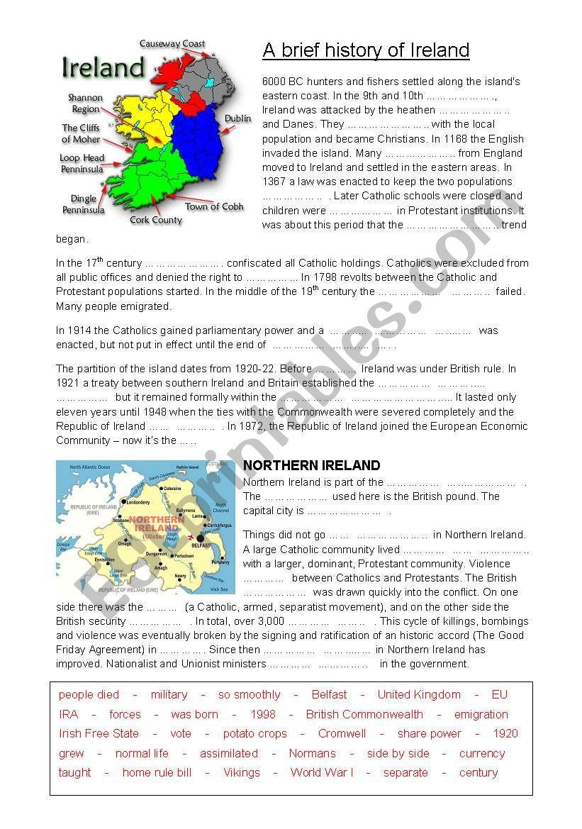 A brief history of Ireland worksheet