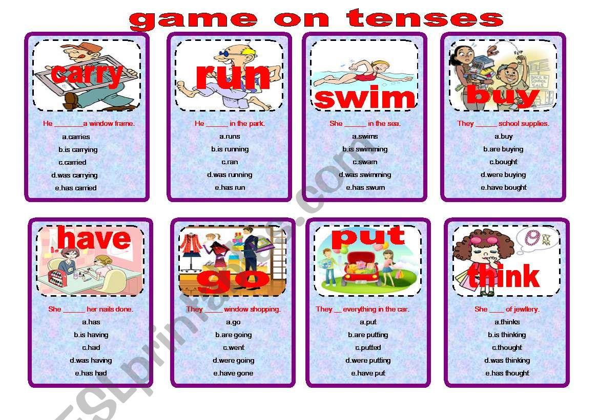 game on tenses worksheet
