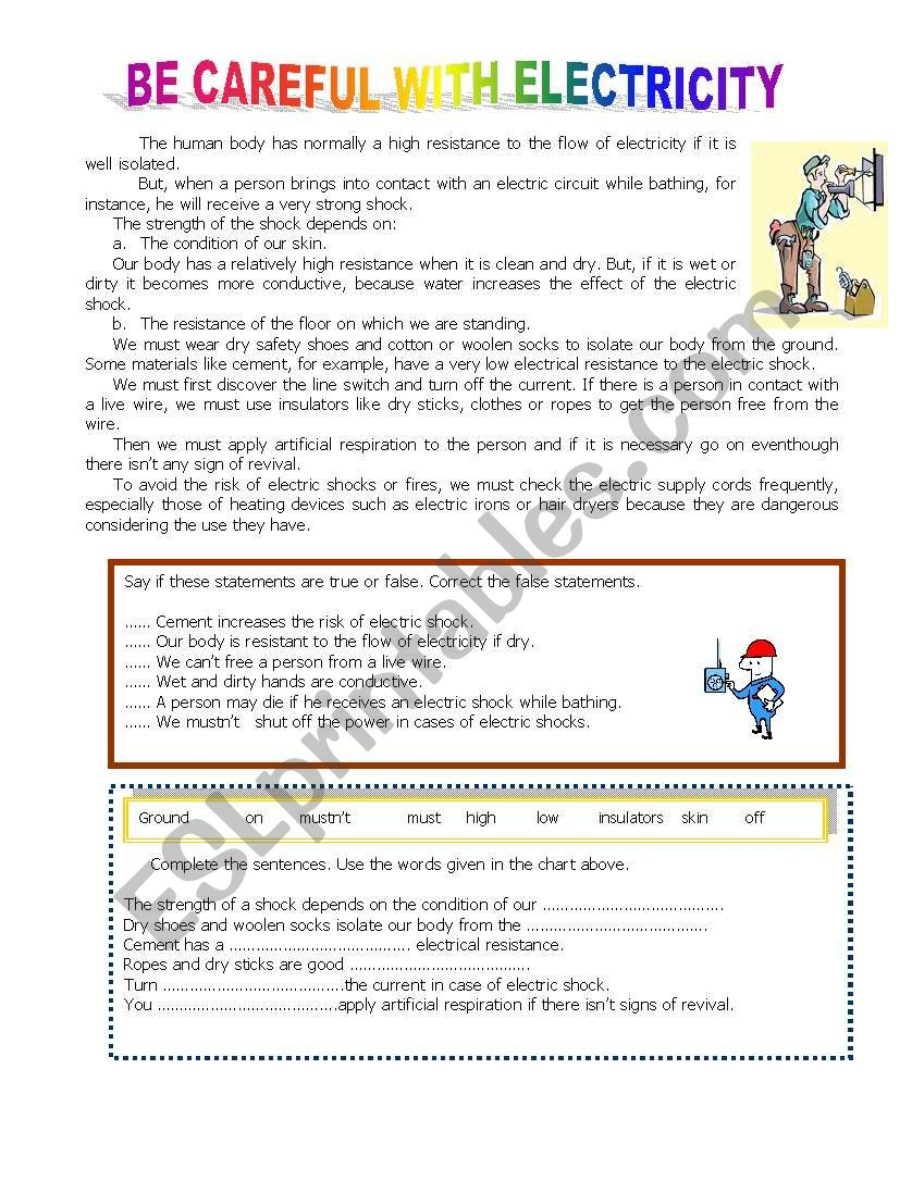 Be careful with electricity worksheet