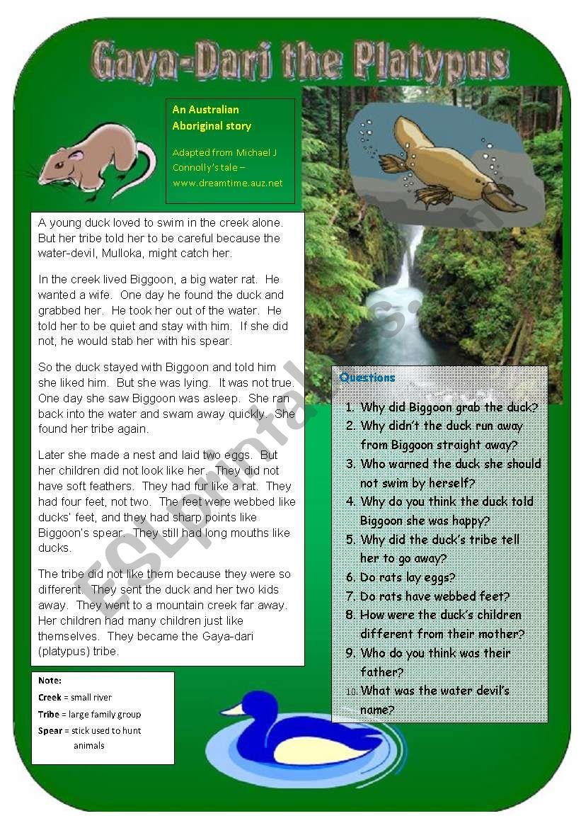 Gaya-Dari: the Platypus worksheet