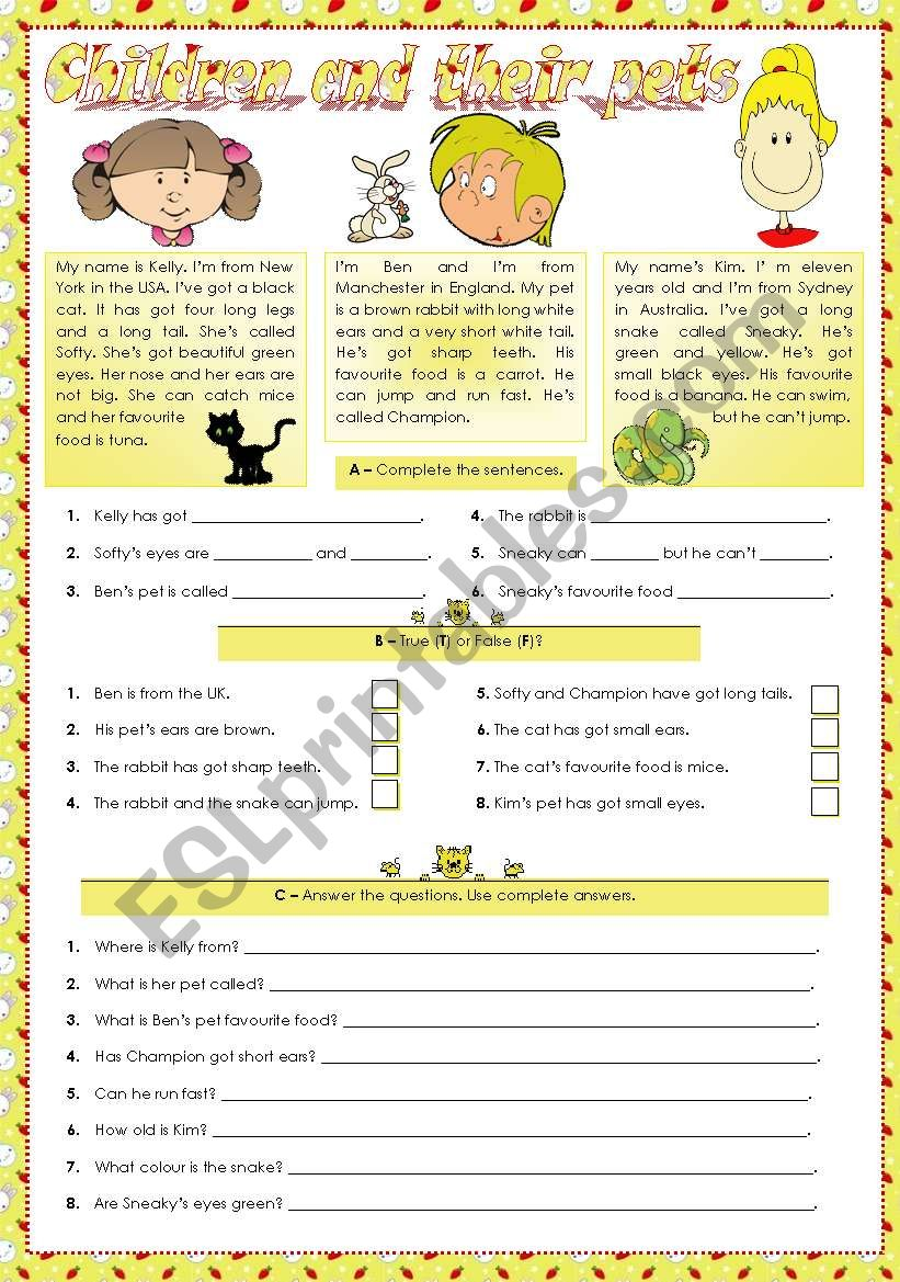 Children and their pets worksheet
