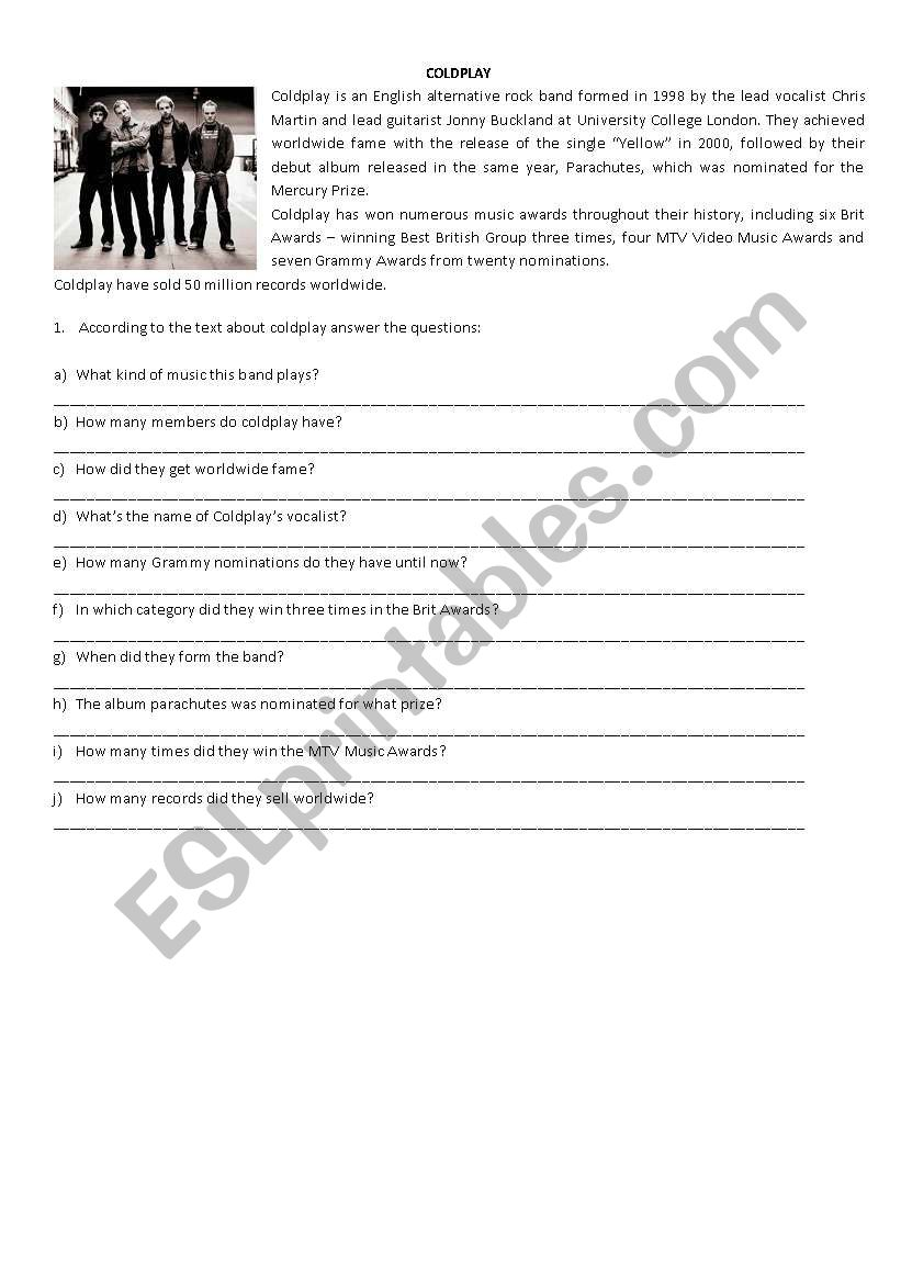 Text and Comprehension worksheet