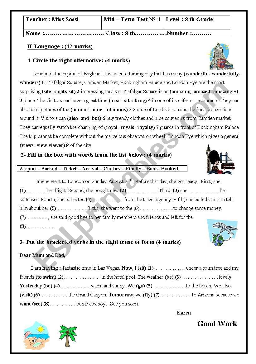 mid term test n1 8th form worksheet