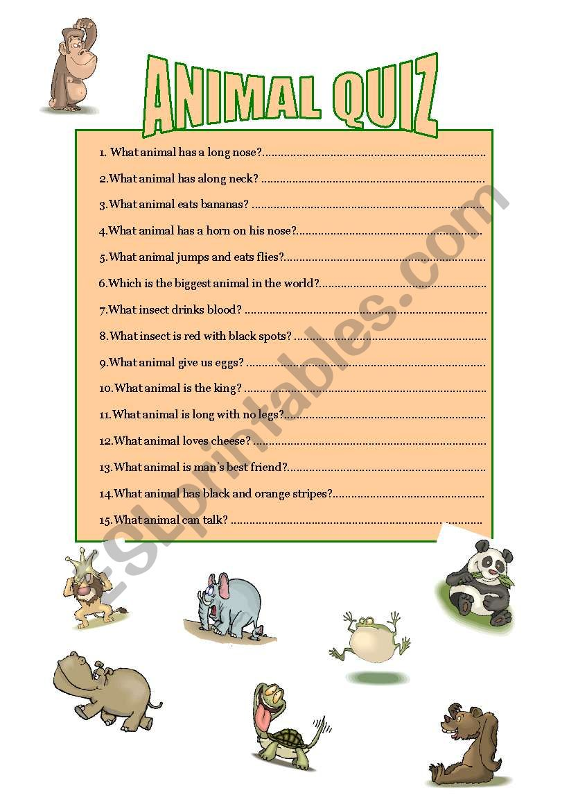 animal quiz esl worksheet by mmbj. Black Bedroom Furniture Sets. Home Design Ideas